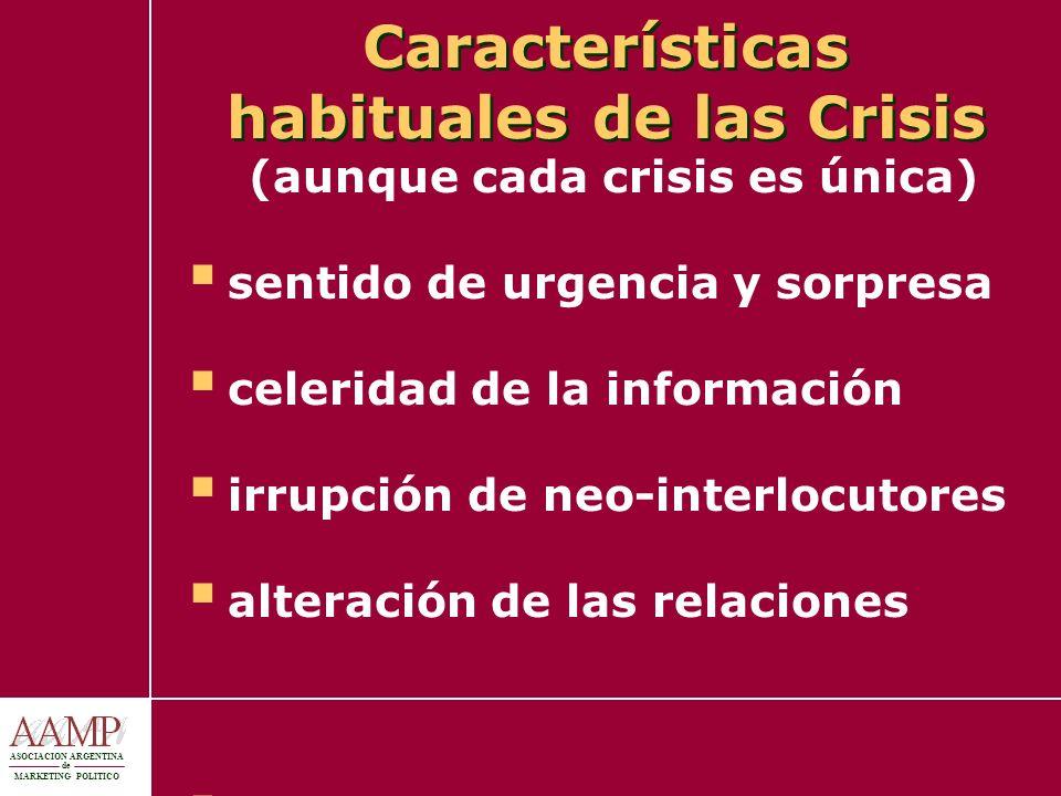 ASOCIACION ARGENTINA de MARKETING POLITICO Características habituales de las Crisis (aunque cada crisis es única) sentido de urgencia y sorpresa celer