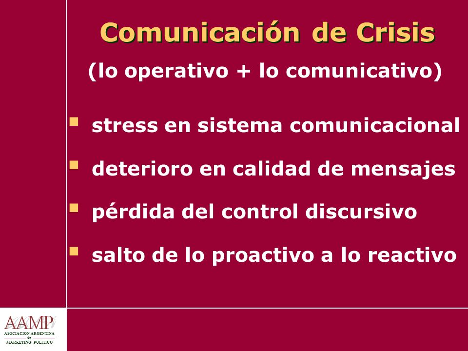 ASOCIACION ARGENTINA de MARKETING POLITICO Comunicación de Crisis (lo operativo + lo comunicativo) stress en sistema comunicacional deterioro en calid