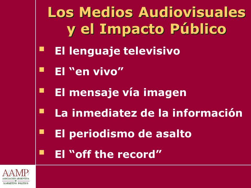 ASOCIACION ARGENTINA de MARKETING POLITICO Los Medios Audiovisuales y el Impacto Público El lenguaje televisivo El en vivo El mensaje vía imagen La in