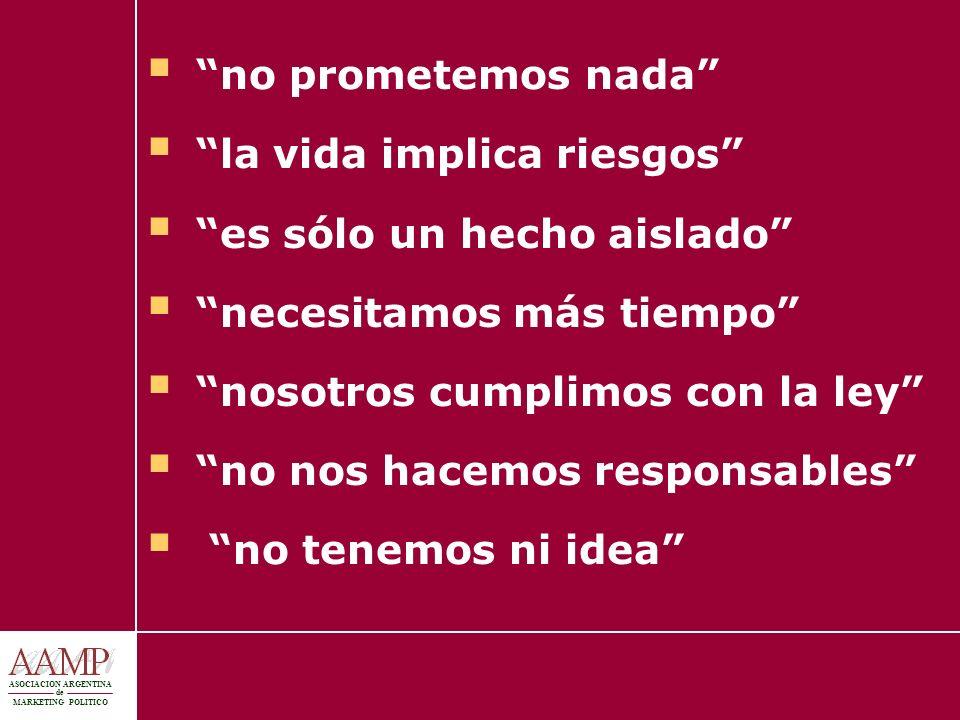 ASOCIACION ARGENTINA de MARKETING POLITICO no prometemos nada la vida implica riesgos es sólo un hecho aislado necesitamos más tiempo nosotros cumplim