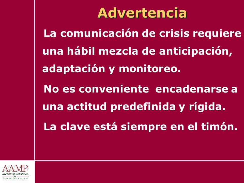 ASOCIACION ARGENTINA de MARKETING POLITICO Advertencia La comunicación de crisis requiere una hábil mezcla de anticipación, adaptación y monitoreo. No
