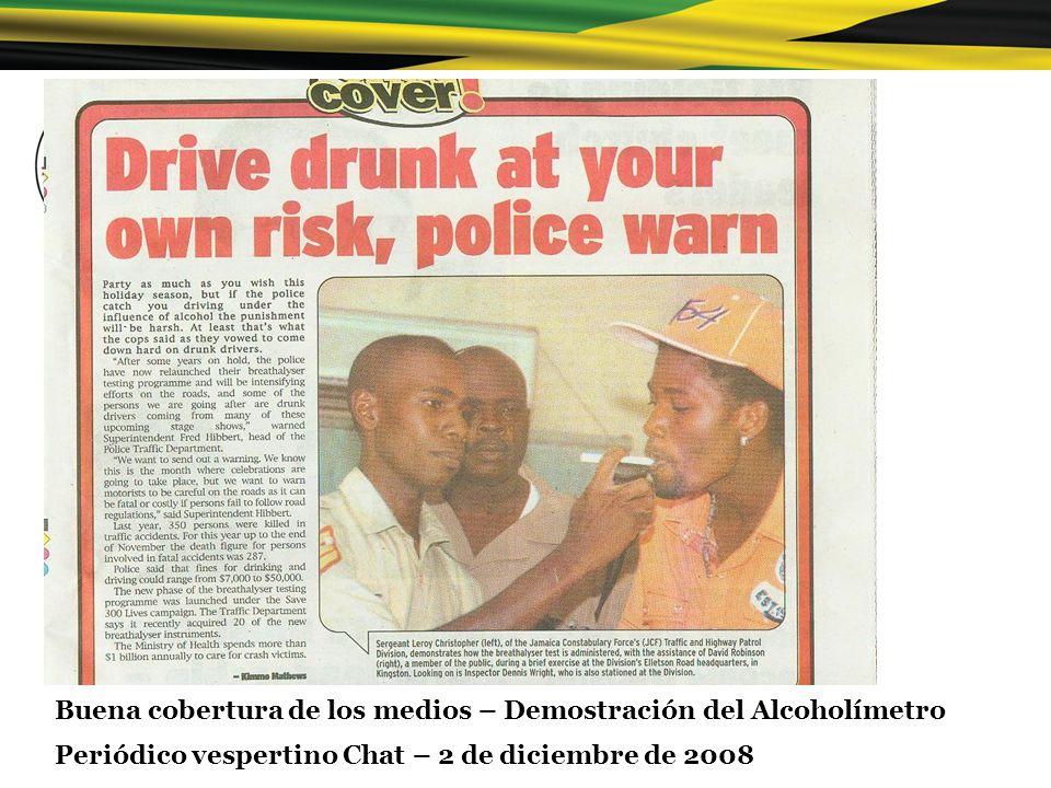 Buena cobertura de los medios – Demostración del Alcoholímetro Periódico vespertino Chat – 2 de diciembre de 2008