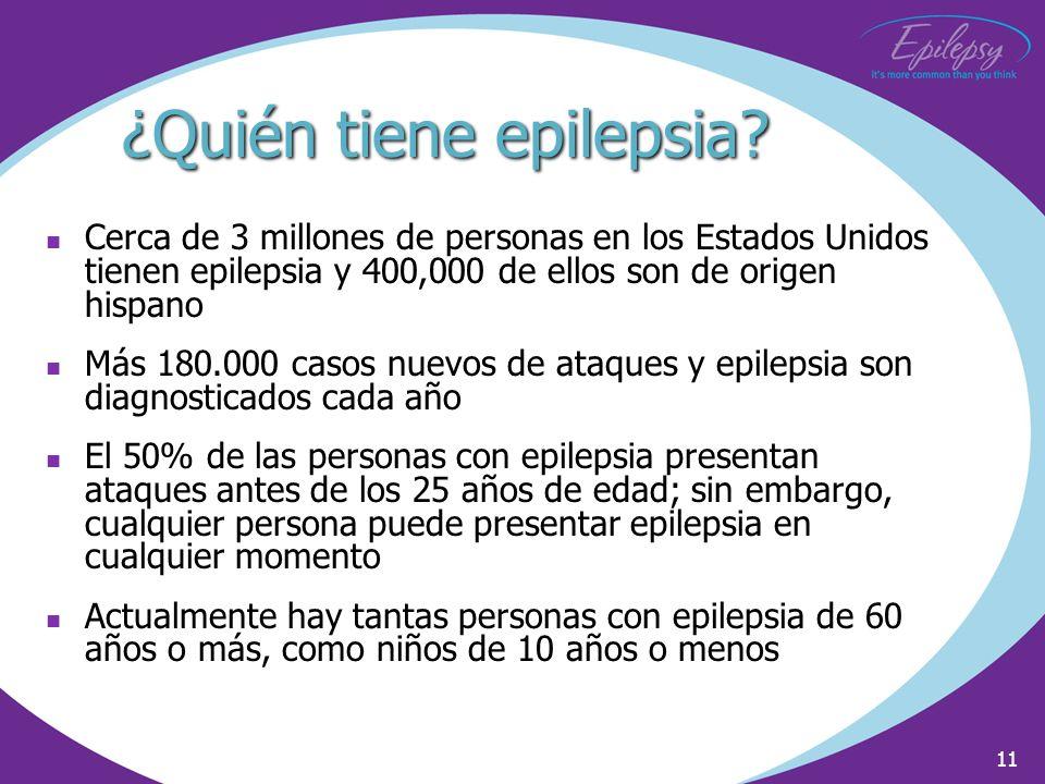 11 ¿Quién tiene epilepsia? Cerca de 3 millones de personas en los Estados Unidos tienen epilepsia y 400,000 de ellos son de origen hispano Más 180.000