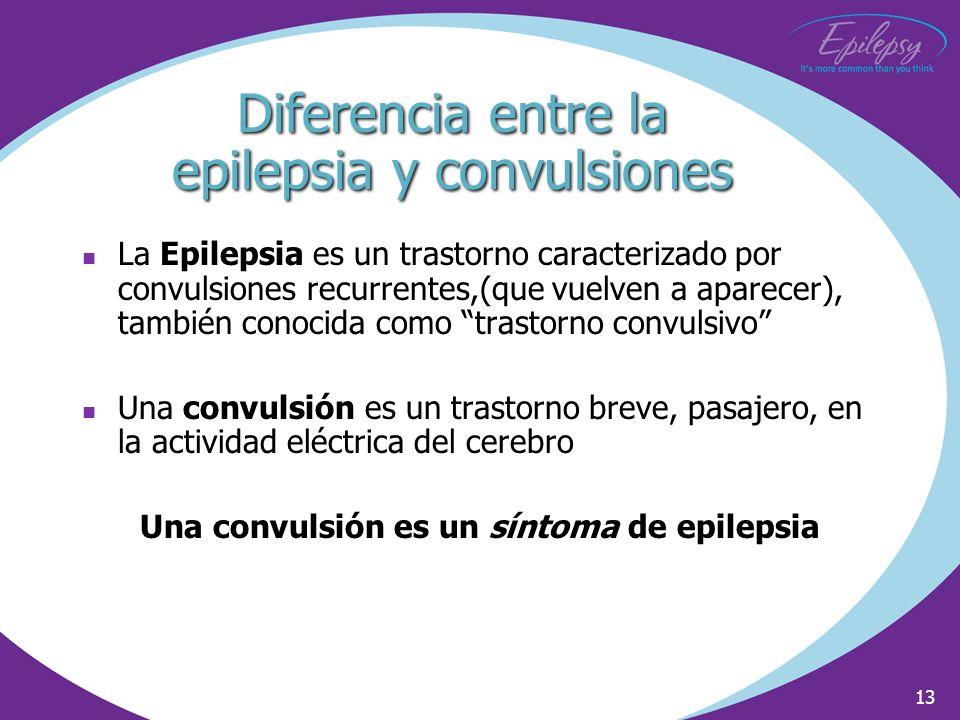 13 Diferencia entre la epilepsia y convulsiones La Epilepsia es un trastorno caracterizado por convulsiones recurrentes,(que vuelven a aparecer), tamb