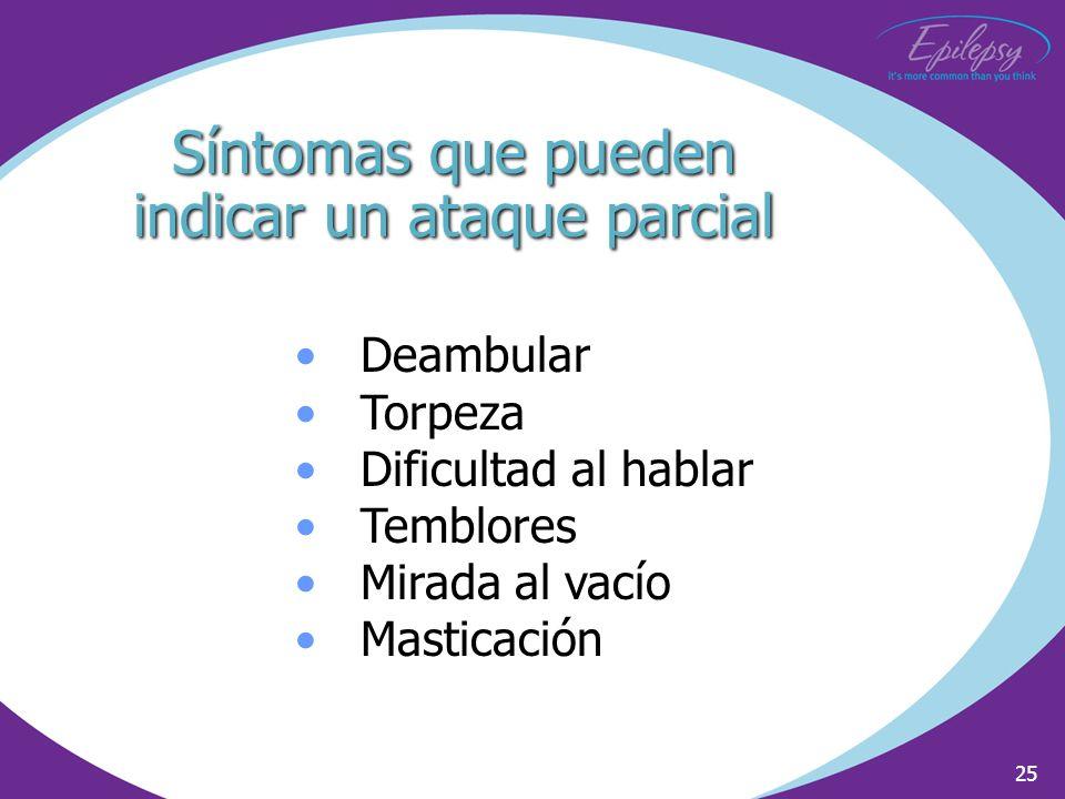 25 Síntomas que pueden indicar un ataque parcial Deambular Torpeza Dificultad al hablar Temblores Mirada al vacío Masticación