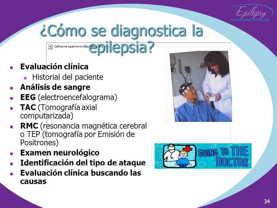 34 Evaluación clínica Historial del paciente Análisis de sangre EEG (electroencefalograma) TAC (Tomografía axial computarizada) RMC (resonancia magnét