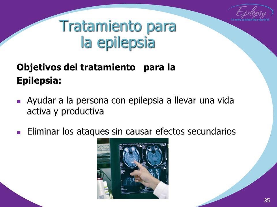 35 Tratamiento para la epilepsia Objetivos del tratamiento para la Epilepsia: Ayudar a la persona con epilepsia a llevar una vida activa y productiva
