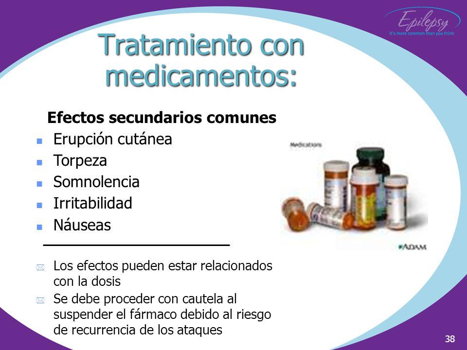 38 Efectos secundarios comunes Erupción cutánea Torpeza Somnolencia Irritabilidad Náuseas * Los efectos pueden estar relacionados con la dosis * Se de