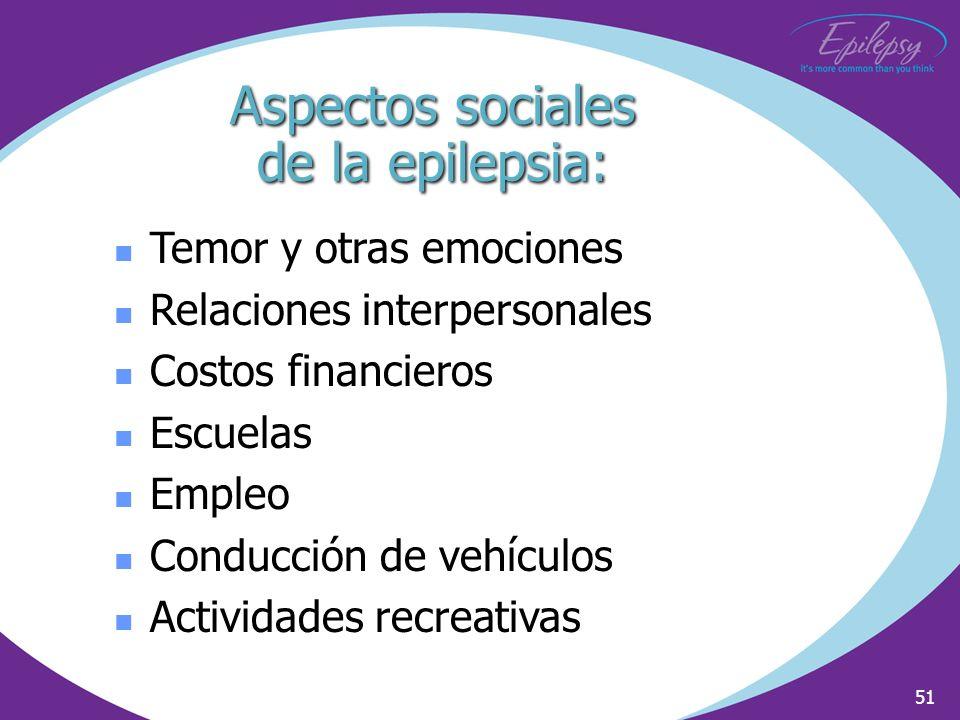 51 Temor y otras emociones Relaciones interpersonales Costos financieros Escuelas Empleo Conducción de vehículos Actividades recreativas Aspectos soci