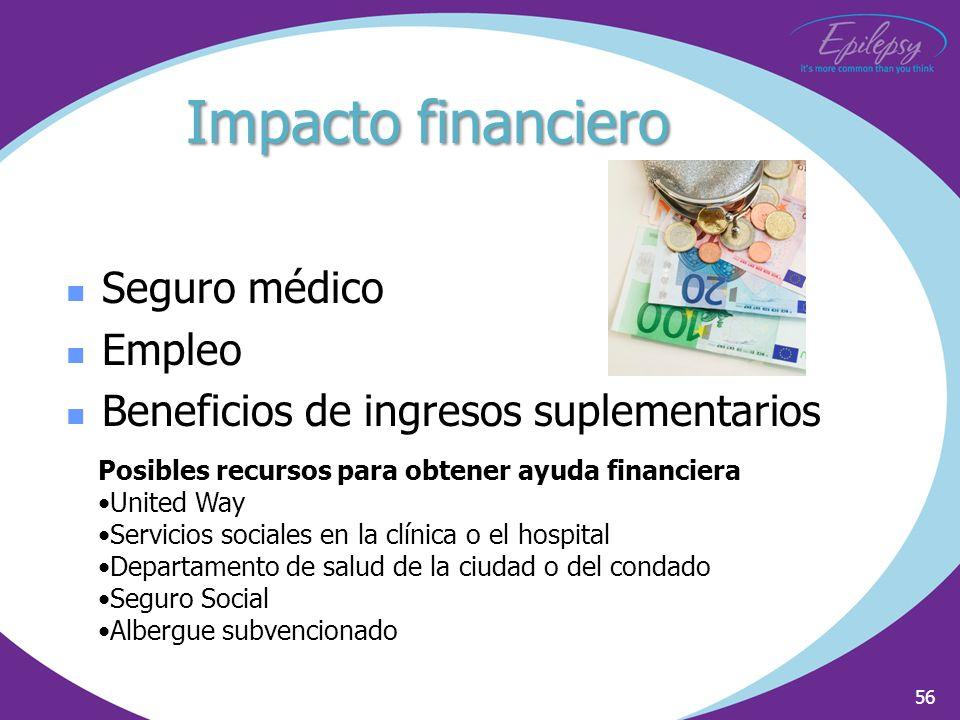 56 Seguro médico Empleo Beneficios de ingresos suplementarios Posibles recursos para obtener ayuda financiera United Way Servicios sociales en la clín