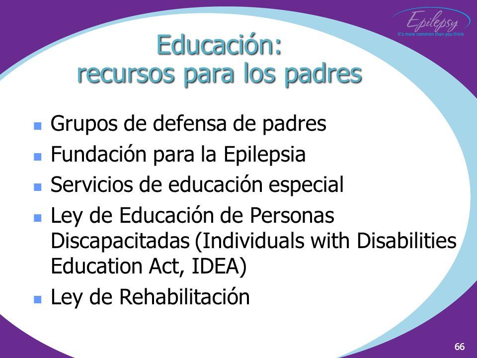 66 Grupos de defensa de padres Fundación para la Epilepsia Servicios de educación especial Ley de Educación de Personas Discapacitadas (Individuals wi