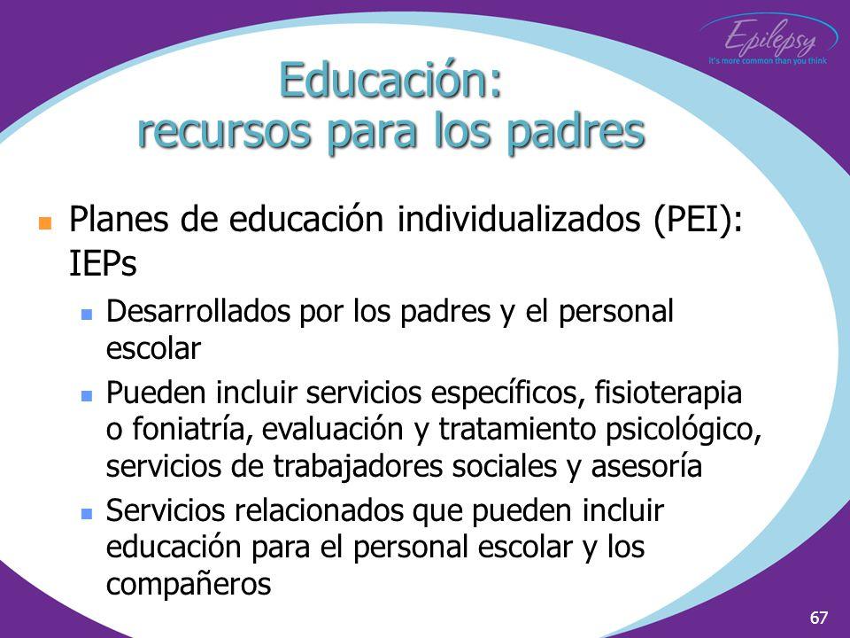 67 Planes de educación individualizados (PEI): IEPs Desarrollados por los padres y el personal escolar Pueden incluir servicios específicos, fisiotera