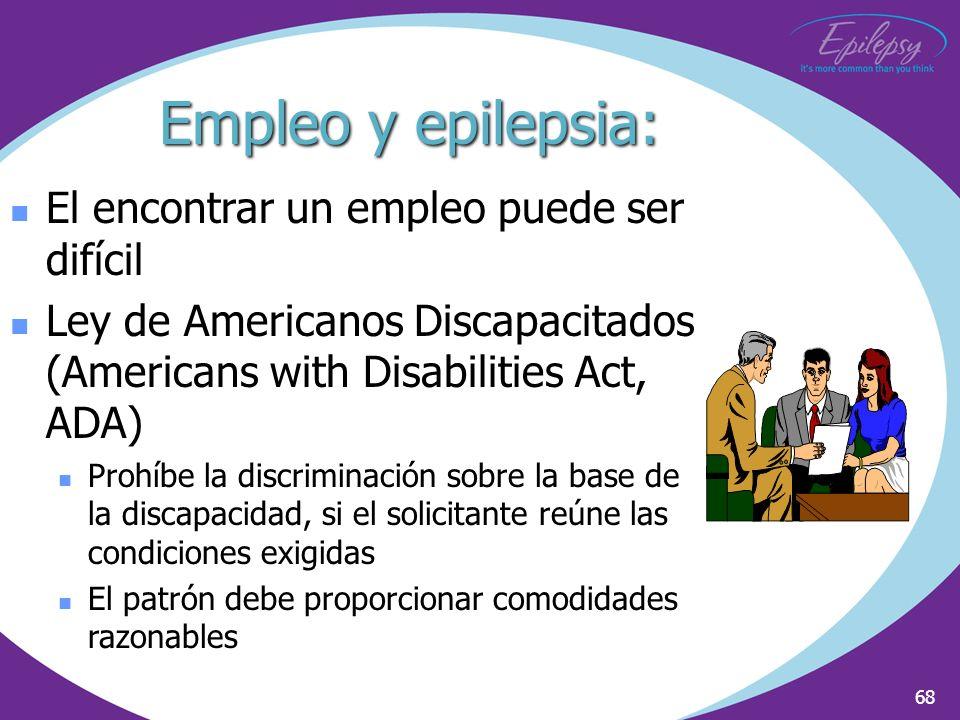 68 El encontrar un empleo puede ser difícil Ley de Americanos Discapacitados (Americans with Disabilities Act, ADA) Prohíbe la discriminación sobre la