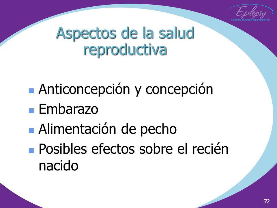 72 Anticoncepción y concepción Embarazo Alimentación de pecho Posibles efectos sobre el recién nacido Aspectos de la salud reproductiva