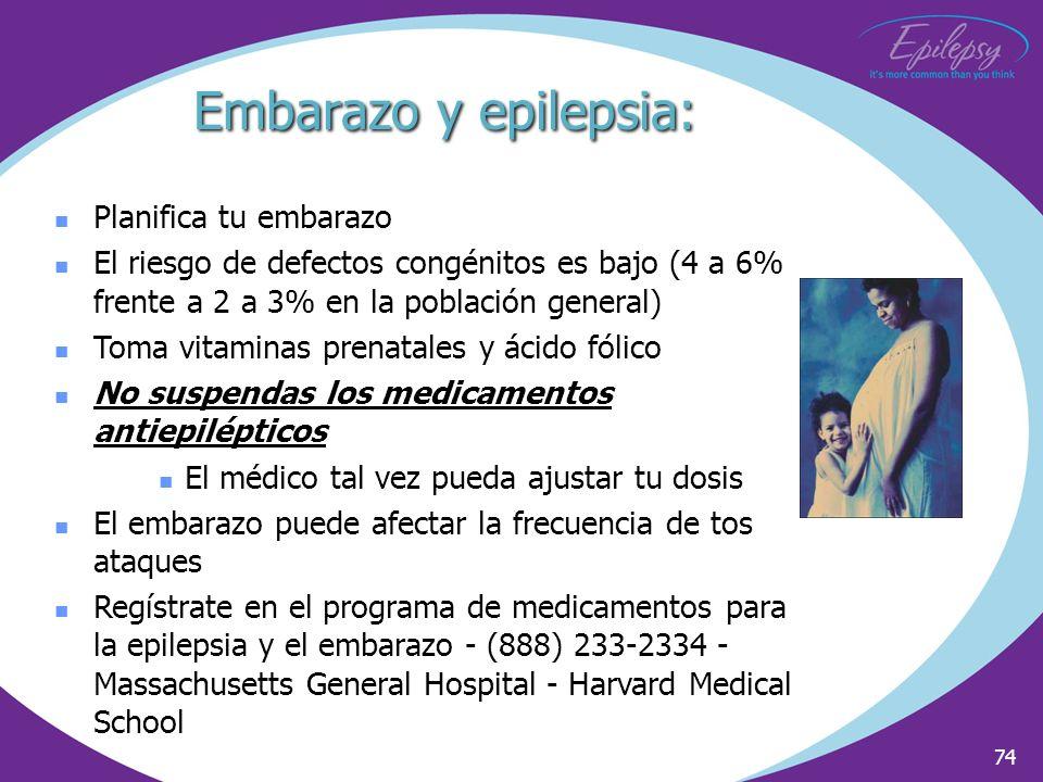 74 Planifica tu embarazo El riesgo de defectos congénitos es bajo (4 a 6% frente a 2 a 3% en la población general) Toma vitaminas prenatales y ácido f
