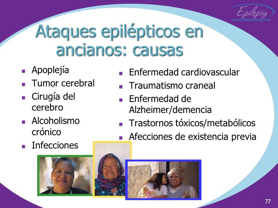 77 Ataques epilépticos en ancianos: causas Apoplejía Tumor cerebral Cirugía del cerebro Alcoholismo crónico Infecciones Enfermedad cardiovascular Trau