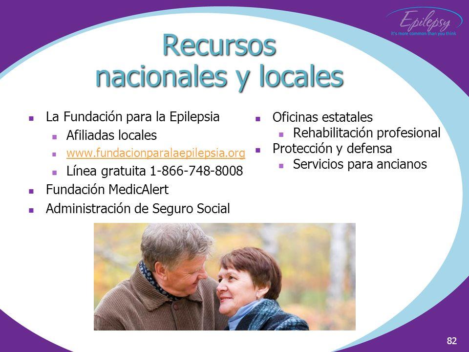 82 Recursos nacionales y locales La Fundación para la Epilepsia Afiliadas locales www.fundacionparalaepilepsia.org Línea gratuita 1-866-748-8008 Funda