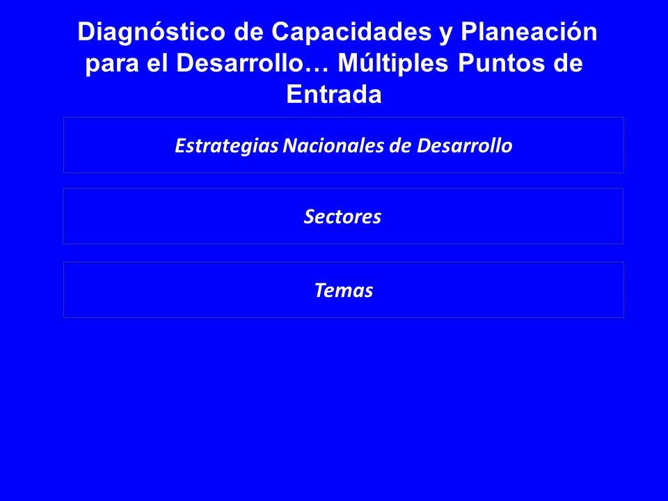 Diagnóstico de Capacidades y Planeación para el Desarrollo… Múltiples Puntos de Entrada Sectores Estrategias Nacionales de Desarrollo Temas