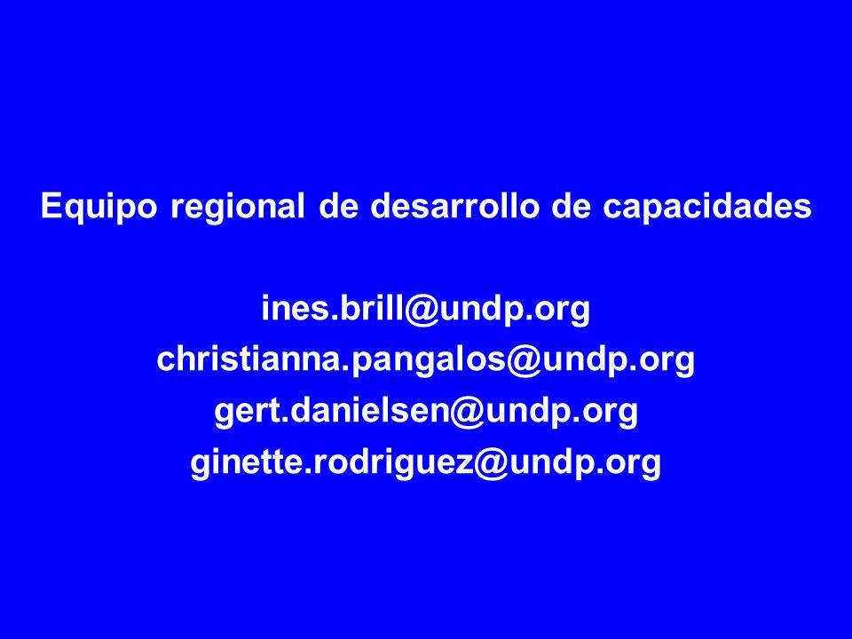 Equipo regional de desarrollo de capacidades ines.brill@undp.org christianna.pangalos@undp.org gert.danielsen@undp.org ginette.rodriguez@undp.org