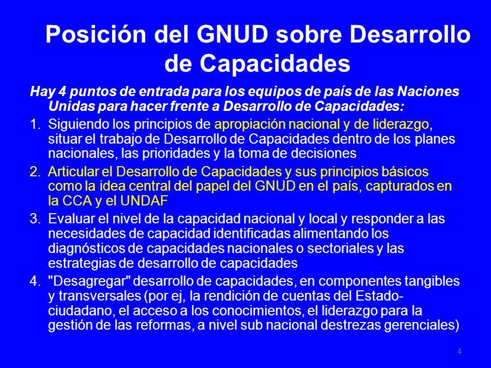 Posición del GNUD sobre Desarrollo de Capacidades Hay 4 puntos de entrada para los equipos de país de las Naciones Unidas para hacer frente a Desarrollo de Capacidades: 1.Siguiendo los principios de apropiación nacional y de liderazgo, situar el trabajo de Desarrollo de Capacidades dentro de los planes nacionales, las prioridades y la toma de decisiones 2.Articular el Desarrollo de Capacidades y sus principios básicos como la idea central del papel del GNUD en el país, capturados en la CCA y el UNDAF 3.Evaluar el nivel de la capacidad nacional y local y responder a las necesidades de capacidad identificadas alimentando los diagnósticos de capacidades nacionales o sectoriales y las estrategias de desarrollo de capacidades 4. Desagregar desarrollo de capacidades, en componentes tangibles y transversales (por ej, la rendición de cuentas del Estado- ciudadano, el acceso a los conocimientos, el liderazgo para la gestión de las reformas, a nivel sub nacional destrezas gerenciales) 4