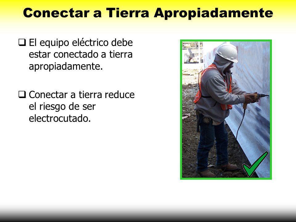 Conectar a Tierra Apropiadamente Conectar a Tierra es el proceso utilizado para eliminar el voltaje no deseado. Conexión a tierra es una conexión físi