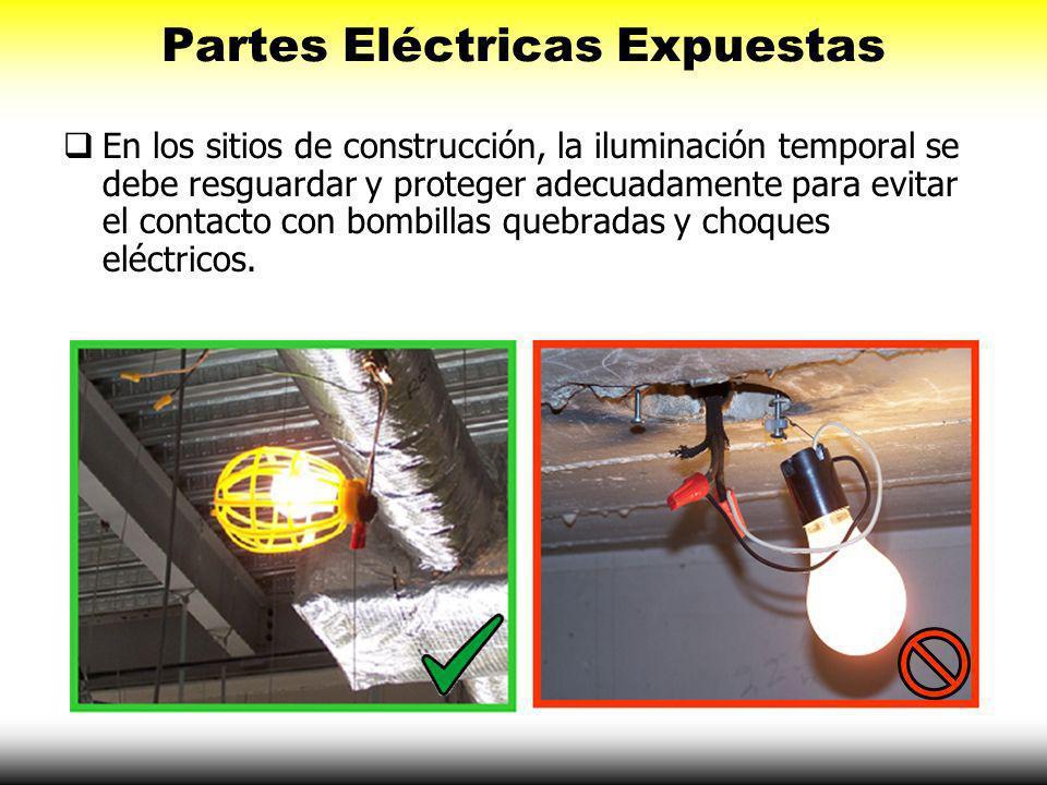 Partes Eléctricas Expuestas El aislamiento externo en extensiones eléctricas debe estar intacto.