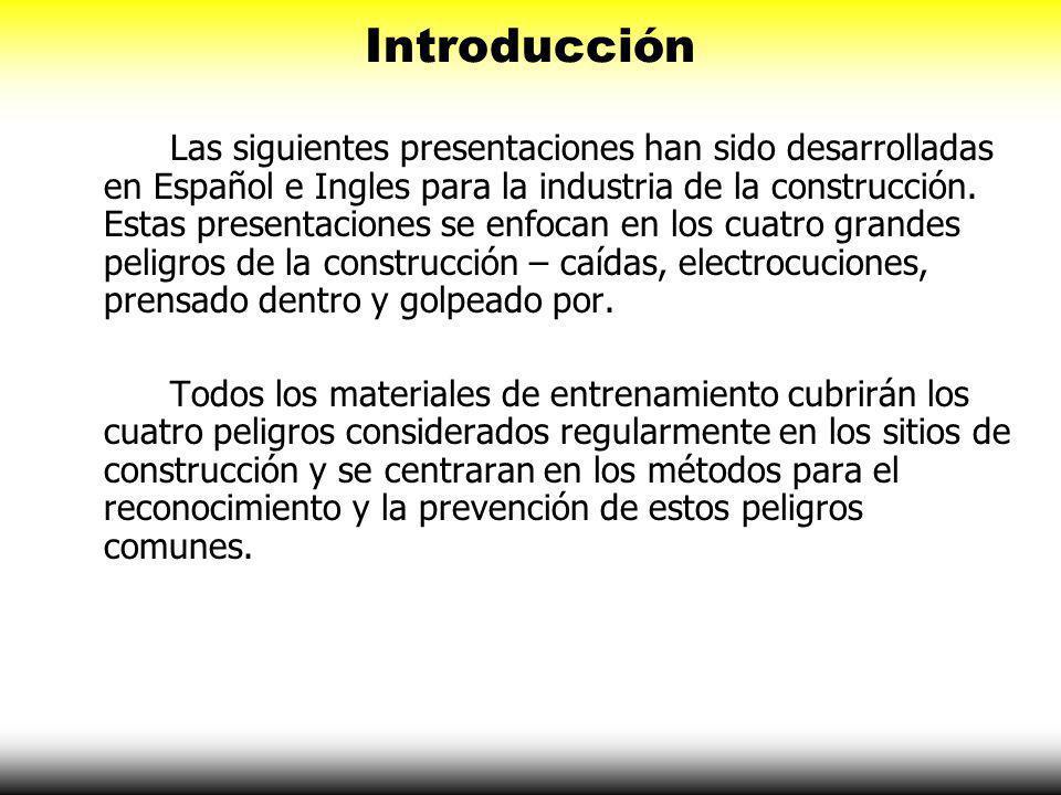 Introducción Las siguientes presentaciones han sido desarrolladas en Español e Ingles para la industria de la construcción.