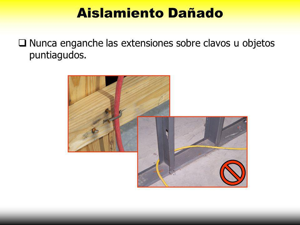 Aislamiento Dañado Nunca utilice herramientas o extensiones con aislamientos dañados.