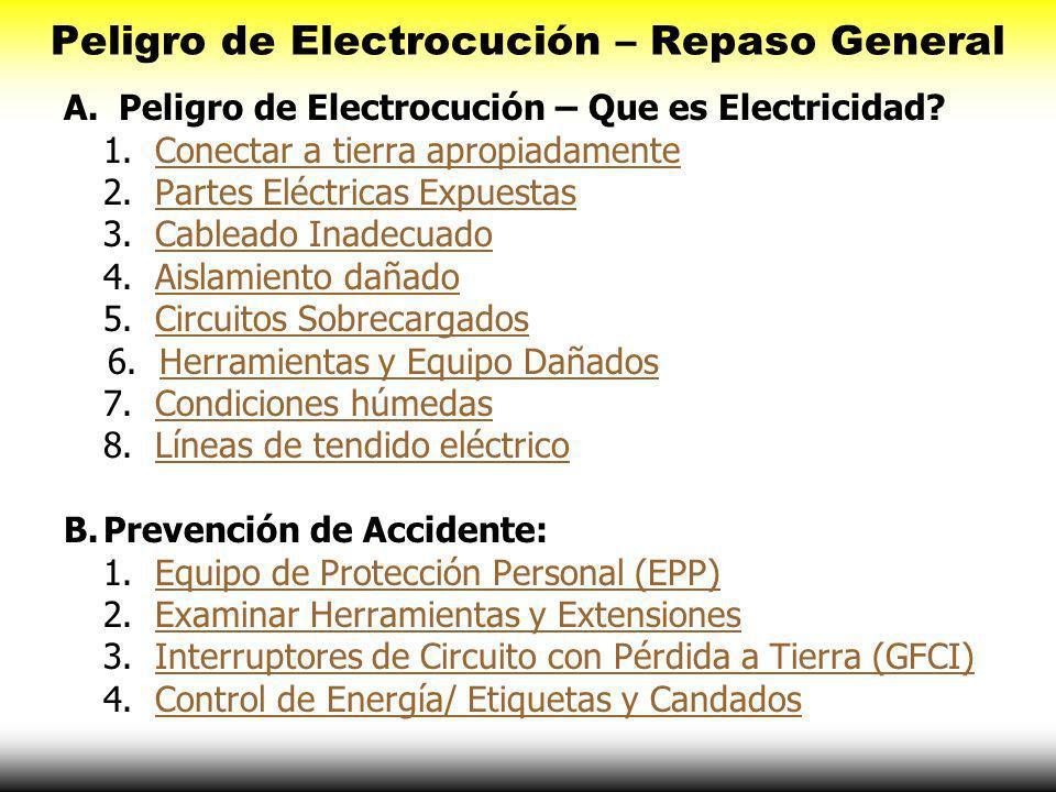 Peligro de Electrocución – Repaso General A.Peligro de Electrocución – Que es Electricidad.