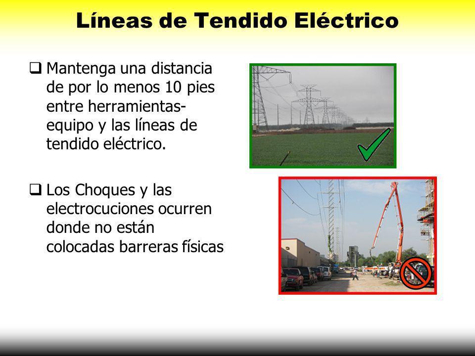 Líneas de Tendido Eléctrico Examine el sitio de construcción por líneas de tendido eléctrico. Nunca almacene materiales y equipo debajo de las líneas