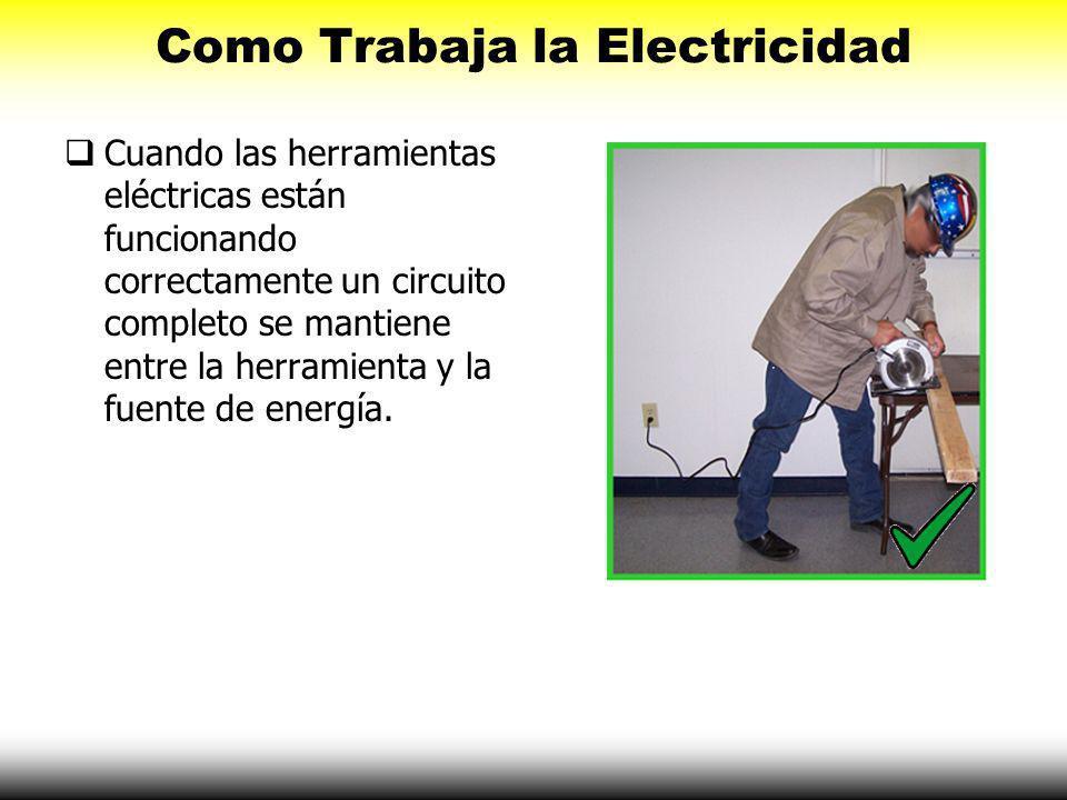 Como Trabaja la Electricidad Cuando las herramientas eléctricas están funcionando correctamente un circuito completo se mantiene entre la herramienta y la fuente de energía.