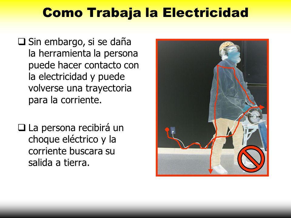 Como Trabaja la Electricidad Sin embargo, si se daña la herramienta la persona puede hacer contacto con la electricidad y puede volverse una trayectoria para la corriente.