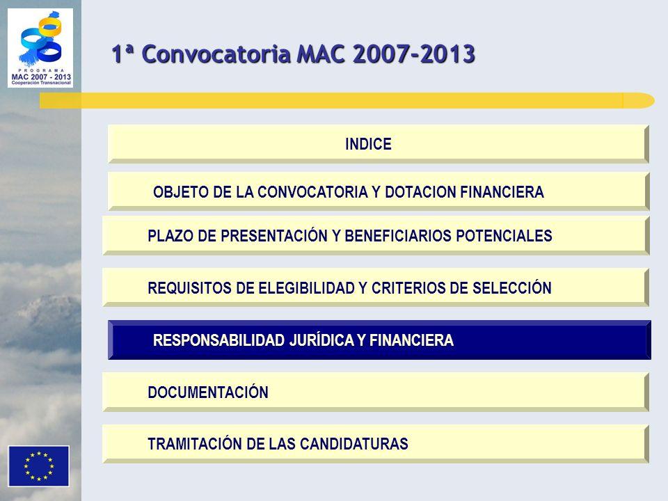 RESPONSABILIDAD JURÍDICA Y FINANCIERA OBJETO DE LA CONVOCATORIA Y DOTACION FINANCIERA PLAZO DE PRESENTACIÓN Y BENEFICIARIOS POTENCIALES REQUISITOS DE