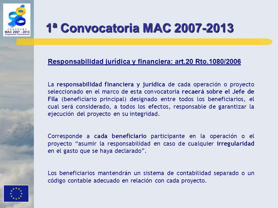 Responsabilidad jurídica y financiera: art.20 Rto.1080/2006 La responsabilidad financiera y jurídica de cada operación o proyecto seleccionado en el m