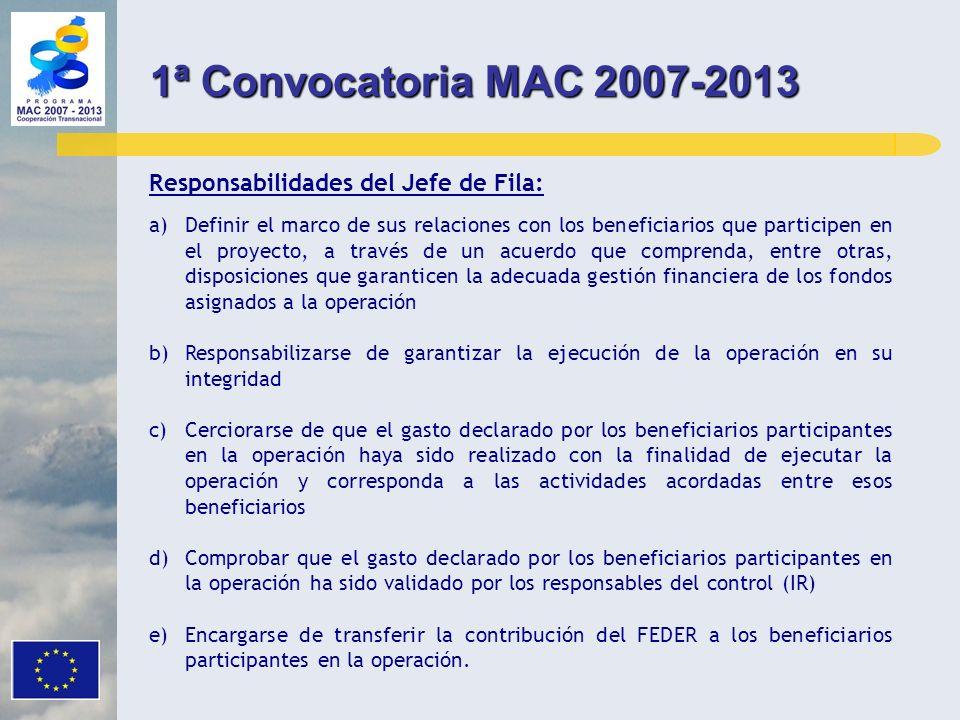1ª Convocatoria MAC 2007-2013 Responsabilidades del Jefe de Fila: a)Definir el marco de sus relaciones con los beneficiarios que participen en el proy