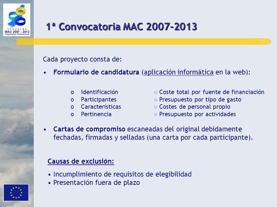 Cada proyecto consta de: Formulario de candidatura (aplicación informática en la web): oIdentificación Coste total por fuente de financiación oPartici
