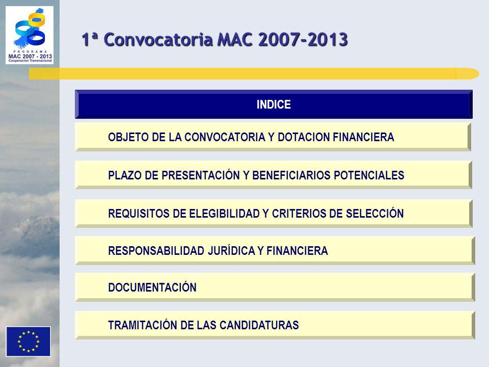 OBJETO DE LA CONVOCATORIA Y DOTACION FINANCIERA PLAZO DE PRESENTACIÓN Y BENEFICIARIOS POTENCIALES REQUISITOS DE ELEGIBILIDAD Y CRITERIOS DE SELECCIÓN RESPONSABILIDAD JURÍDICA Y FINANCIERA DOCUMENTACIÓN INDICE TRAMITACIÓN DE LAS CANDIDATURAS 1ª Convocatoria MAC 2007-2013