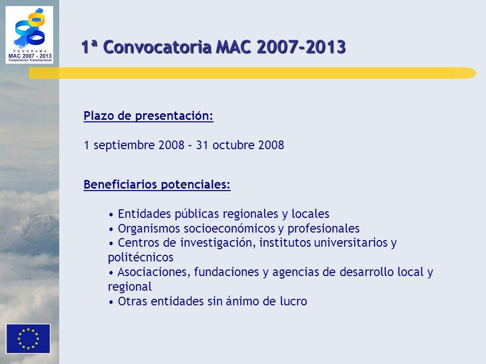 REQUISITOS DE ELEGIBILIDAD Y CRITERIOS DE SELECCIÓN OBJETO DE LA CONVOCATORIA Y DOTACION FINANCIERA PLAZO DE PRESENTACIÓN Y BENEFICIARIOS POTENCIALES RESPONSABILIDAD JURÍDICA Y FINANCIERA DOCUMENTACIÓN INDICE TRAMITACIÓN DE LAS CANDIDATURAS 1ª Convocatoria MAC 2007-2013