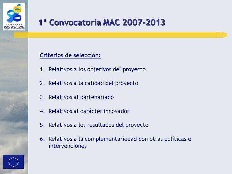 1ª Convocatoria MAC 2007-2013 Criterios de selección: 1.Relativos a los objetivos del proyecto 2.Relativos a la calidad del proyecto 3.Relativos al pa