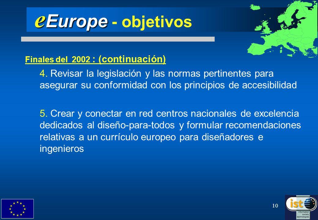 10 e Europe e Europe - objetivos Finales del 2002 : (continuación) 4. Revisar la legislación y las normas pertinentes para asegurar su conformidad con