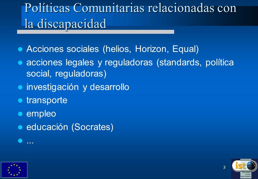 3 Políticas Comunitarias relacionadas con la discapacidad Acciones sociales (helios, Horizon, Equal) acciones legales y reguladoras (standards, políti