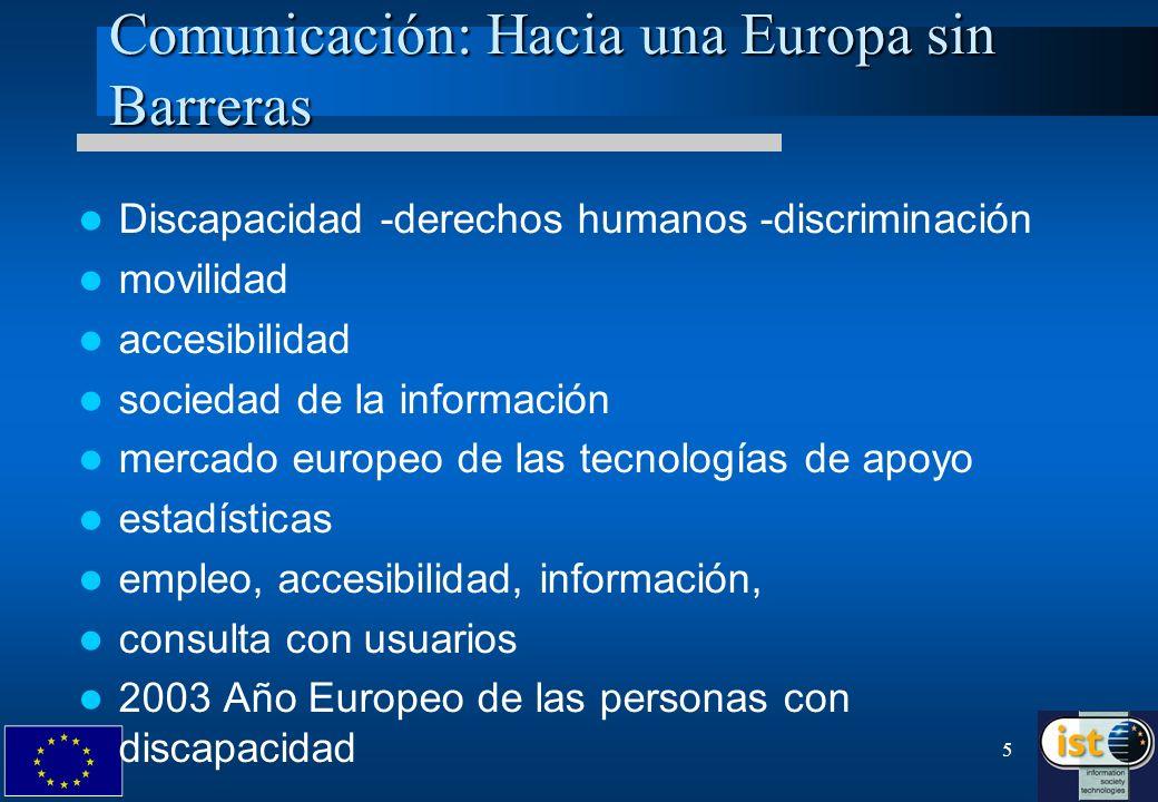 5 Comunicación: Hacia una Europa sin Barreras Discapacidad -derechos humanos -discriminación movilidad accesibilidad sociedad de la información mercad