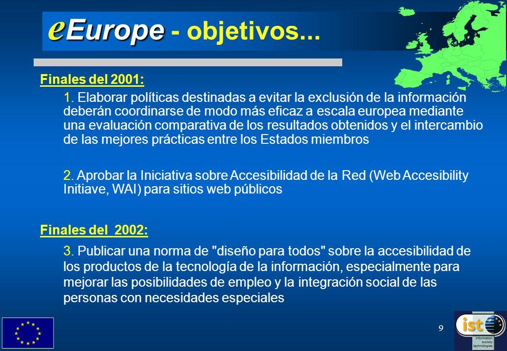 9 e Europe e Europe - objetivos... Finales del 2001: 1. Elaborar políticas destinadas a evitar la exclusión de la información deberán coordinarse de m