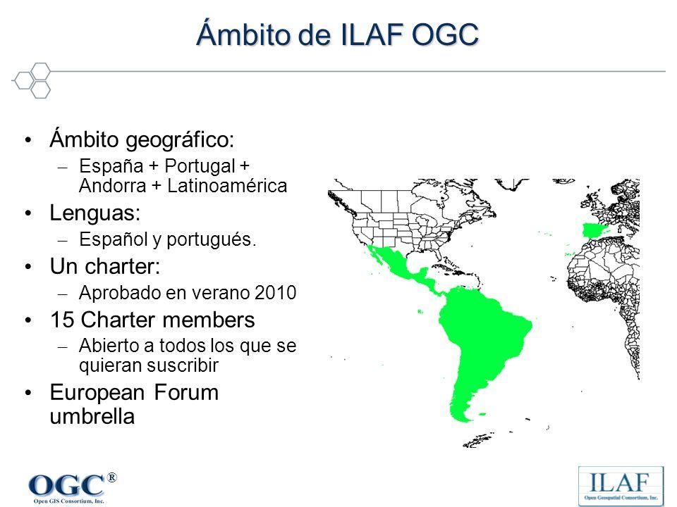 ® Ámbito de ILAF OGC Ámbito geográfico: – España + Portugal + Andorra + Latinoamérica Lenguas: – Español y portugués. Un charter: – Aprobado en verano