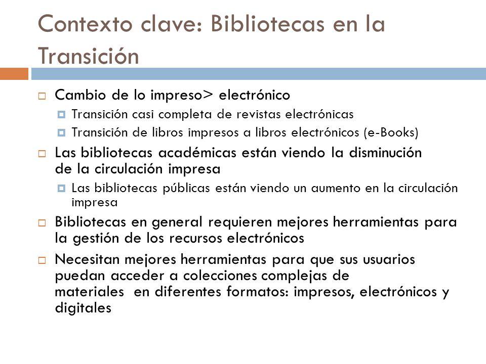 Contexto clave: Bibliotecas en la Transición Cambio de lo impreso> electrónico Transición casi completa de revistas electrónicas Transición de libros