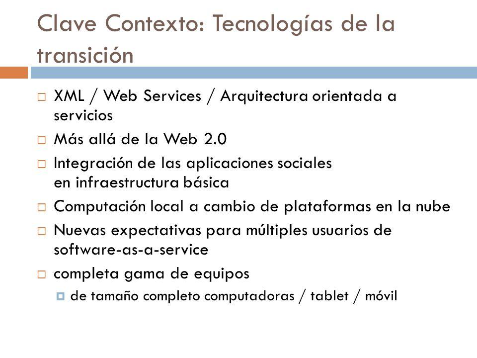 Clave Contexto: Tecnologías de la transición XML / Web Services / Arquitectura orientada a servicios Más allá de la Web 2.0 Integración de las aplicac