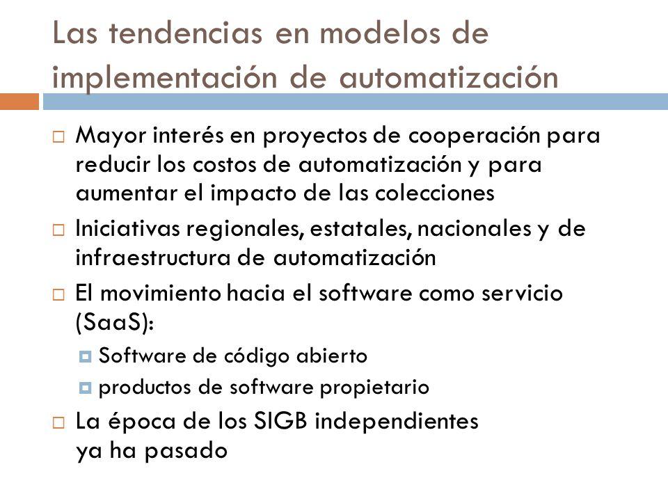 Las tendencias en modelos de implementación de automatización Mayor interés en proyectos de cooperación para reducir los costos de automatización y pa