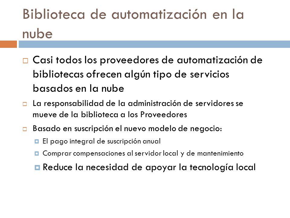 Biblioteca de automatización en la nube Casi todos los proveedores de automatización de bibliotecas ofrecen algún tipo de servicios basados en la nube