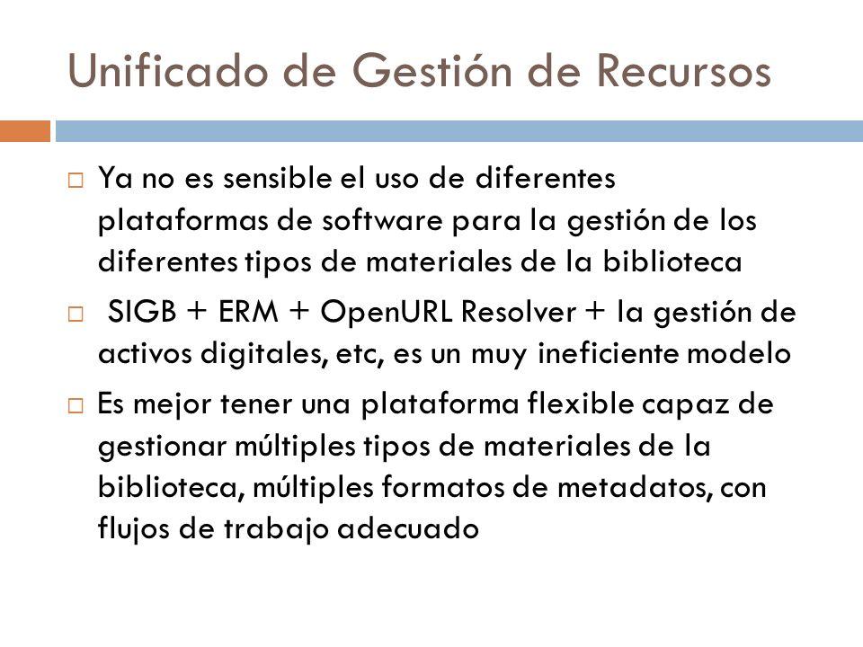 Unificado de Gestión de Recursos Ya no es sensible el uso de diferentes plataformas de software para la gestión de los diferentes tipos de materiales