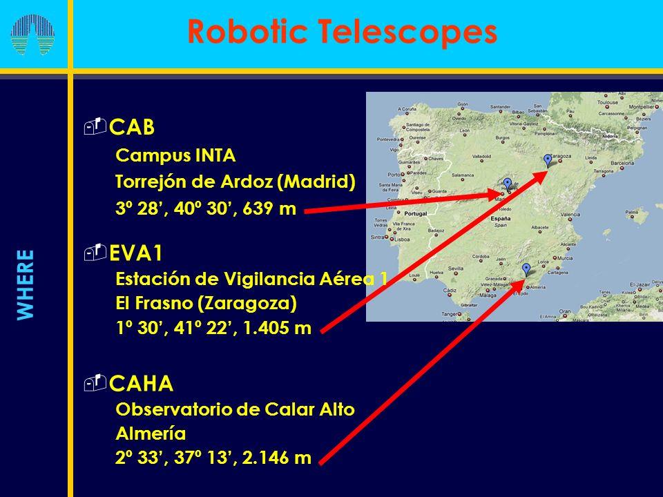 Robotic Telescopes WHERE CAB Campus INTA Torrejón de Ardoz (Madrid) 3º 28, 40º 30, 639 m EVA1 Estación de Vigilancia Aérea 1 El Frasno (Zaragoza) 1º 30, 41º 22, 1.405 m CAHA Observatorio de Calar Alto Almería 2º 33, 37º 13, 2.146 m